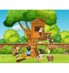 Children building treehouse in the park vector
