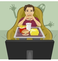 Mature man eating hamburger and watching tv vector