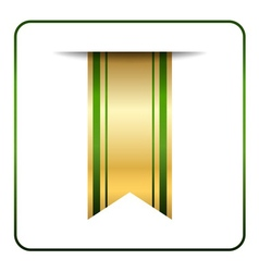 Green gold bookmark banner isolated vector
