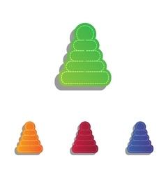 Pyramid sign  colorfull applique vector