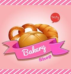 Bakery shop logo design with bread vector