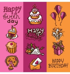 Birthday sketch banner set vector image