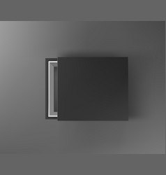 black empty box mock up on dark gray background vector image vector image