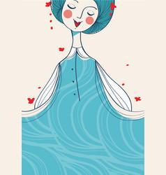 blue hair girl background vector image