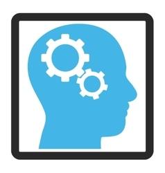 Brain gears framed icon vector