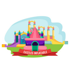 Castles inflatable set for summer rest isolated on vector