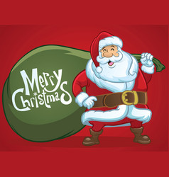 Cheerful santa claus greeting christmas vector