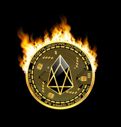 Crypto currency eos golden symbol on fire vector