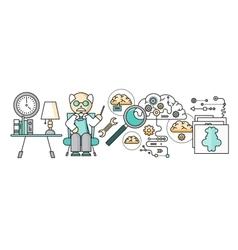 Diagnosis of Brain Psychology Flat Design vector image