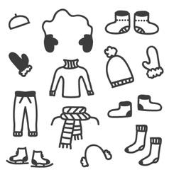 Doodle winter clothes set vector