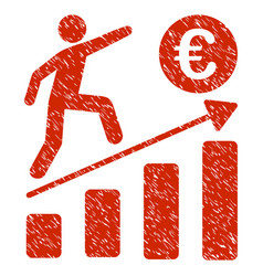 euro business growth icon grunge watermark vector image vector image