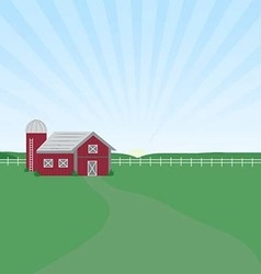 Farm sunrise vector