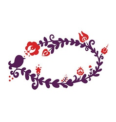 Floral frame with bird silhouette vector