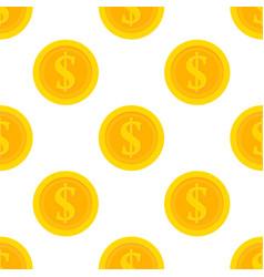 Golden dollar coins seamless pattern vector