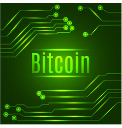 Green bitcoin digital currency concept on circuit vector