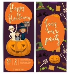 Halloween party flyers set with kids in costumes vector