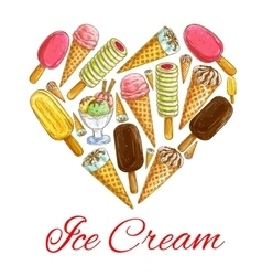 Ice cream seamless sketch pattern background vector