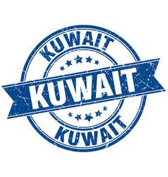 Kuwait blue round grunge vintage ribbon stamp vector