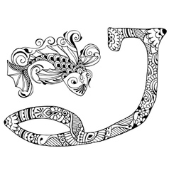 letter J decorated in the style of mehndi vector image