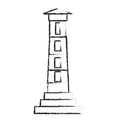 lighthouse guide ocean sketch vector image