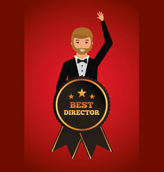 Man waving in stylish clothes with award best vector