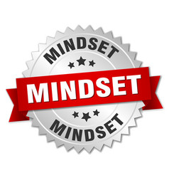 Mindset round isolated silver badge vector