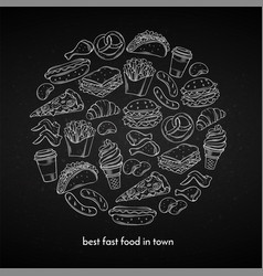 poster with hand drawn fast food vector image