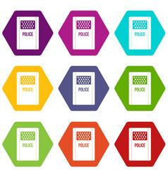 Riot shield icon set color hexahedron vector
