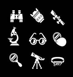 Set icons of optics equipment vector image