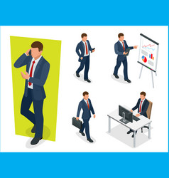 Set of businessman man on white background vector