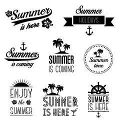 Set of summer holidays typography labels and signs vector