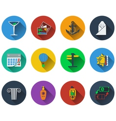 Set of travel icons in flat design vector