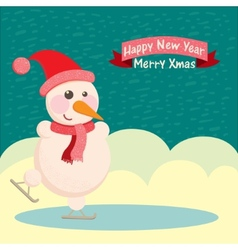 snowman in a hat and ice skating vector image