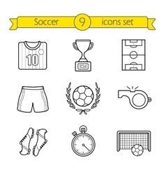 Soccer linear icons set vector