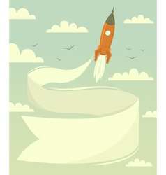 Space rocket with banner vector image