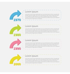Timeline vertical infographic with colored arrows vector