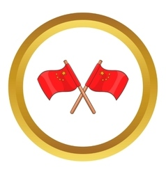 Two crossed flags of China icon vector image