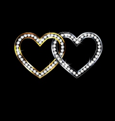two jewelry hearts vector image vector image
