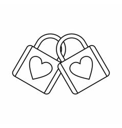 Two locked padlocks with hearts icon vector