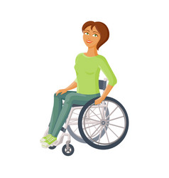 Young beautiful woman sitting in wheelchair vector