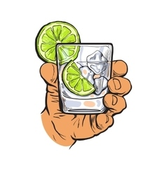 Hand holding glass of gin vodka water with ice vector
