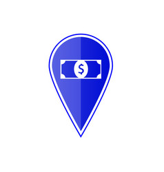 blue map pointer with dollar icon vector image