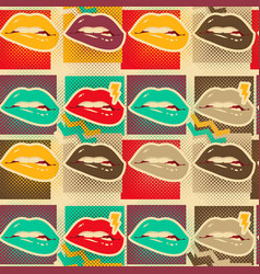 Pop art lips copies seamless pattern vector