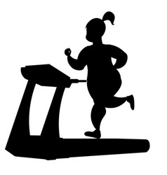 girl silhouette running on a treadmill vector image