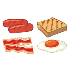 Breakfast set with sausages and egg vector