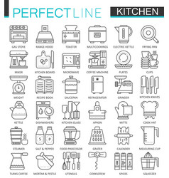 Cooking and kitchen outline concept symbols vector