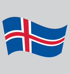 Flag of iceland waving on gray background vector