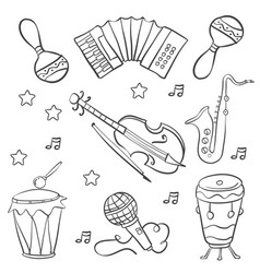 Collection music doodle style hand draw vector