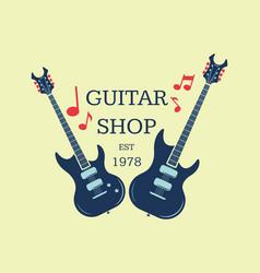 guitar shop logo emblem with musical notes vector image