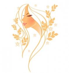 women profile leaf floral vector image